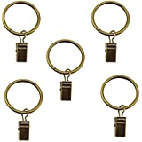 """Yueton Pack of 20 Window Curtain Metal Clips with Ring for Rods Up, 1.3"""" Interior Diameter"""