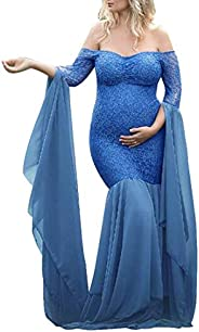 JJAI Maternity Off Shoulder V Neck Lace Gown Maxi Photography Dress