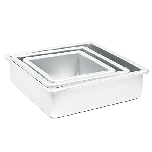 Cake Pan Set of 3, Square 3 Inches (6'', 8'' 10'') by Fat Daddio's by Fat Daddios