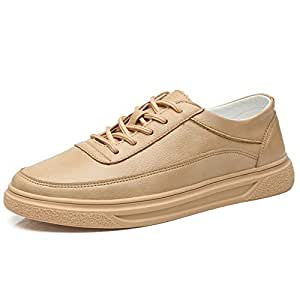 SYktcjgs Fashion Men's Walking Shoes Casual PU Leather Breathable Running Sneakers Platform Board Shoes Low Top Anti-Slip Round Toe Lace Up (Color : Apricot, Size : 39 EU)
