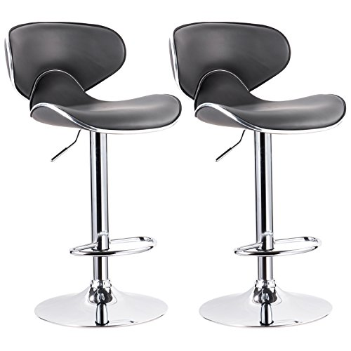 WOLTU Contemporary Gray Bar Stools Adjustable Synthetic Leather Seat and Back Swivel Hydraulic upholstered Kitchen Stools Chairs Metal Frame,Set of 2 Review