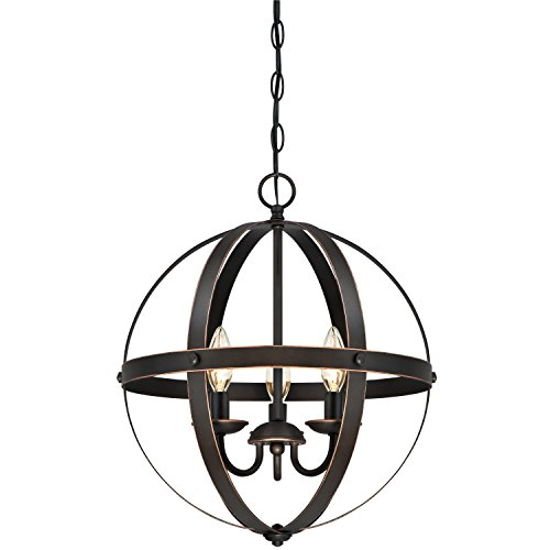 6341800 Stella Mira Three-Light Pendant, Oil Rubbed Bronze Finish with Highlights - Bronze Chandelier