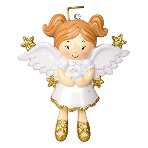 (Personalized Angel with Dove Christmas Tree Ornament 2019 - Cute Beautiful Pixie Gold White Dress Wings Halo Prayer Heaven Memorial Remembrance Choir Spirit Figure Tradition - Free)