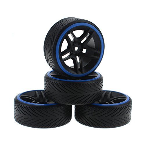HobbyMarking 4Pcs 1/10 RC Racing Car Hard Tires Tyre and Wheel Rims for RC Tamiya HSP HPI Kyosho On-Road Traxxas Model Car (Blue)
