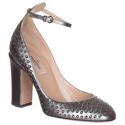 Valentino Garavani Women's Silver Leather Embellished Crystals Pumps Heels Shoes, Silver, IT 38.5/US - Valentino Crystal
