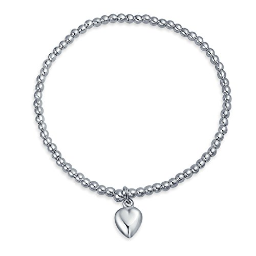 Plated Silver Bracelet Beaded Stretch (Sterling Silver 3MM Beaded Heart Love Stretch Bracelet)
