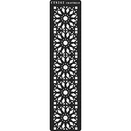 CrafTreat Stencil - Border6 | Reusable Painting Template for Journal, Home Decor, Crafting, DIY Albums, Scrapbook, Decoration and Printing on Paper, Floor, Wall, Tile, Fabric, Wood -