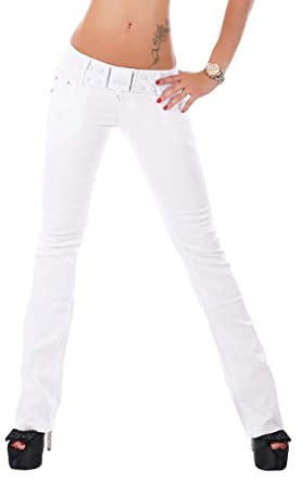 26258a6a281 RED SEVENTY Ladies Womens Stretch Boot Cut Jeans Trousers White + White Belt  Sizes UK 6