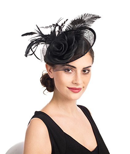 (SAFERIN Fascinators Hat Sinamay Flower Mesh Feathers on a Headband and a Clip Tea Party Headwear for Girls and Women (TA4-sinamay Feather Black) )
