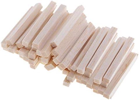 ウッド棒 ウッド ブロック DIY クラフト バルサ 木 モデリング ホビー用素材 約60本