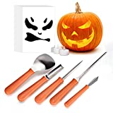 Halloween Pumpkin Carving Kit, iTrunk 5 Pieces Professional Stainless Steel Pumpkin Carving Tools with 2 LED Candle Lights, Premium Sculpting Tools with 10 Carving Stencils