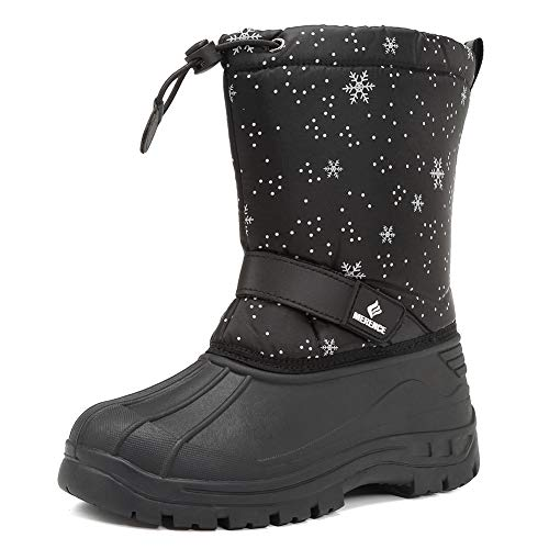 CIOR Snow Boots Winter Outdoor Waterproof with Fur Lined for Girls & Boys (Toddler/Little Kid/Big Kid) TX1,snowblack,34