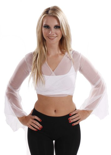 Belly Dance Sheer Chiffon Choli Top (MEDIUM/LARGE, WHITE)