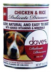 Dave's Natural Canned Dog Food, Delicate Dinners, Easy to Digest, Chicken and Rice, Wheat and Wheat Gluten Free (Pack 12x13oz), My Pet Supplies