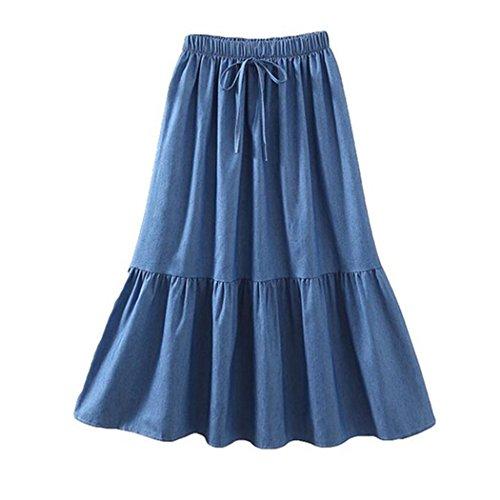 bbpawing Girl's High Waist A-Line Pleated Belt Hem Ruffles Denim Midi Patchwork Dress