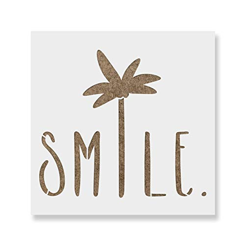 Smile Palm Tree Saying Stencil Template for Walls and Crafts - Reusable Stencils for Painting in Small & Large Sizes