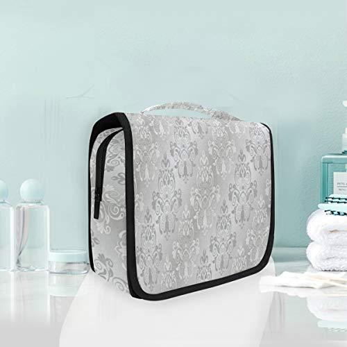 - Toiletry Bag European Damask Flower Hanging Organizer Bag Wash Gargle Bag Cosmetic Bag Portable Makeup Pouch with Hanging Hook Travel