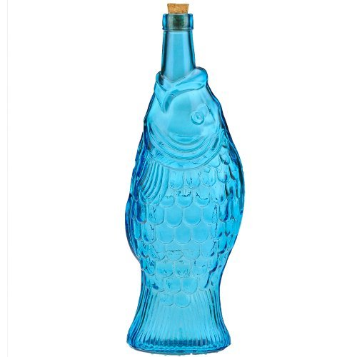 13'' Tall Aqua Blue Recycled Glass Fish Bottle 37oz by Couronne Company
