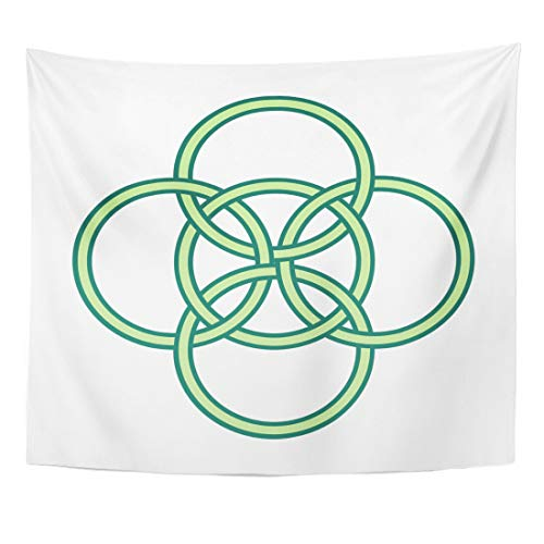 Emvency Tapestry Knotwork Ancient Symbol Five Fold Celtic Knot Gaelic Circle Irish Luck Home Decor Wall Hanging for Living Room Bedroom Dorm 50x60 Inches