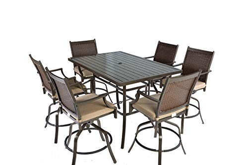 Pebble Lane Living Weather Resistant 7pc Bronze Powder Coated Aluminum and UV Brown and Tan Resin Wicker Swivel Patio Bar Dining Set with Tan Olefin All Season Cushions - Seats 6 ()