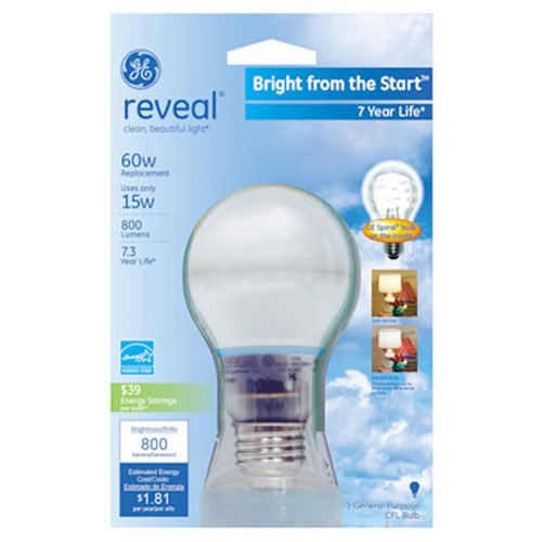 - GE Lighting 63508 Reveal Bright from the Start CFL 15-Watt (60-watt replacement) 740-Lumen A19 Light Bulb with Medium Base, 1-Pack