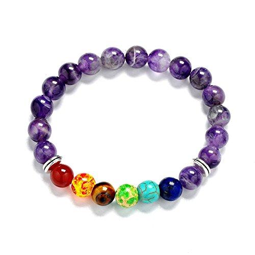 Reizteko Men Women 8mm Lava Rock 7 Chakra Diffuser Bracelet Elastic Natural Stone Yoga Beads Bracelet Bangle (Amethyst ()