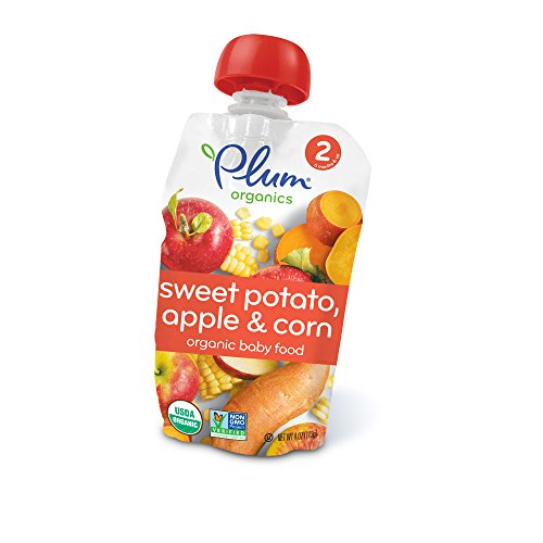 Plum Organics Stage 2, Organic Baby Food, Sweet Potato, Apple and Corn, 4 ounce pouch (Pack of 12) (Organic Sweet Certified)