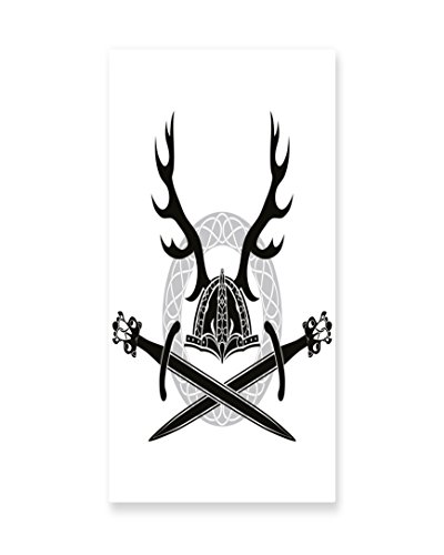 Lunarable Antler Wall Art, Hat with Deer Antlers Viking Culture Celtic Circle Medieval Barbarian Theme, Gloss Aluminium Modern Metal Artwork for Wall Decor, 11.6 W X 23.5 L Inches, Black (Female Barbarian Costume Ideas)