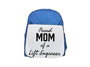 Mochila azul para niños con diseño de Mom of a Lift Engineer, mochilas bonitas y