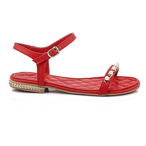AllhqFashion Mujeres Puntera Abierta Mini tacón Material Suave Tachonado Hebilla Sandalia Rojo