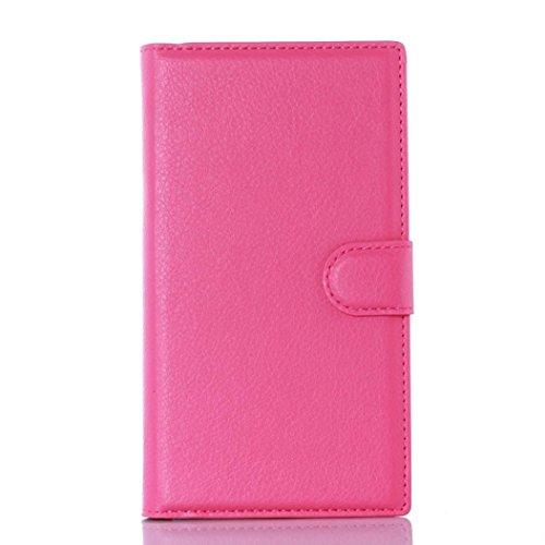 Veepola New Flip Magnetic Card Wallet Leather Case Cover for BlackBerry Priv (Hot Pink)