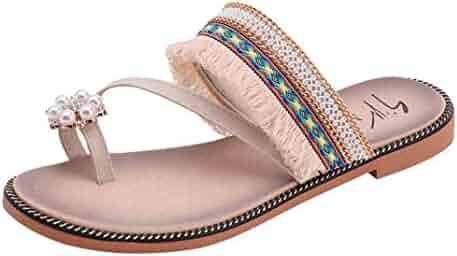 557f531da1724 RAISINGTOP Ladies Solid Crystal Tassels Sandals Slipper Beach Shoes Flip  Flops Women Comfort Dressy Indoor Outdoor