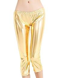Speerise Womens Shiny Metallic Wetlook Pants Yoga Dance Capri Leggings