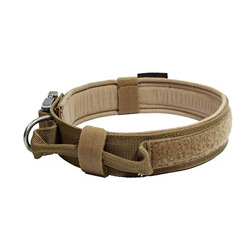 EXCELLENT ELITE SPANKER Tactical Dog Collar Training Nylon Adjustable Military Dog Collars with Control Handle(COB-L)