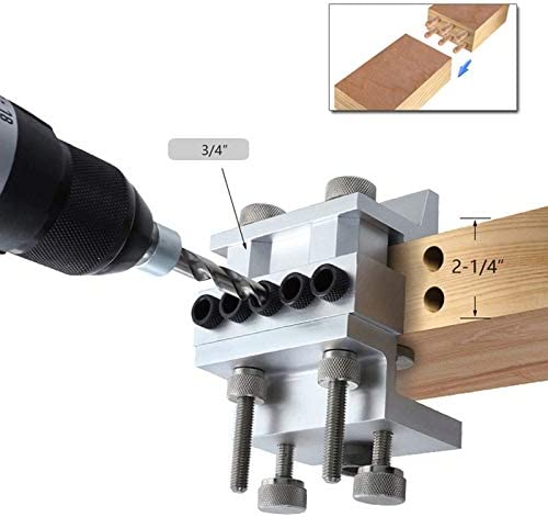 Iycorish Woodworking Hole Punch Locator Wood Positioning Jig Adjustable Drill Guide for DIY Furniture Connection Positioning Tool