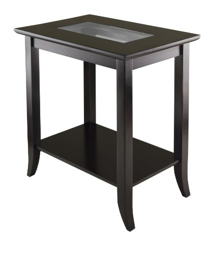 Winsome Genoa Rectangular End Table with Glass Top And Shelf by Winsome