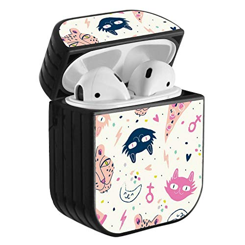 (Compatible with Airpods 2 & 1, Shockproof Portable Protective Hard Cover Case with Neck Lanyard Strap - Cute Funky Leopard and cat Pattern)