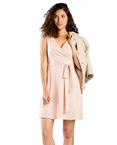 Toad&Co Women's Cue Sleeveless Dress, Pink Sand Mini Stripe, - Resistant Mini Wrinkle