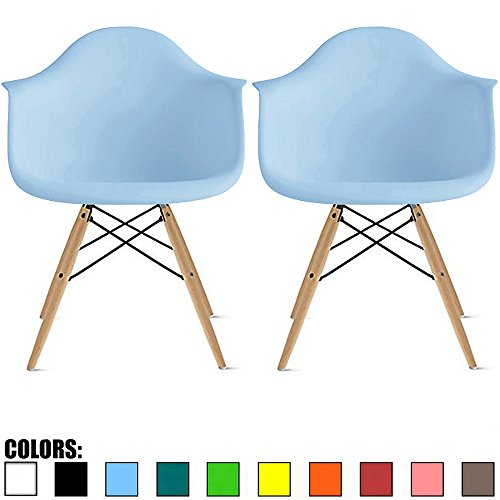 2xhome Set of 2 Blue Mid Century Modern Contemporary Vintage Molded Shell Designer with Arms Plastic Eiffel Chairs Natural Wood Legs DAW Dining Accent Conference Room Desk Ergonomic No Wheels ()