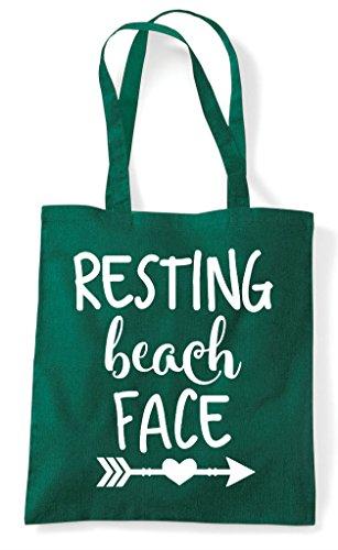 Resting Shopper Green Bag Dark Summer Face Statement Beach Tote 7qaR7p