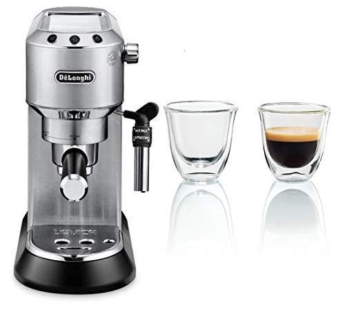 Delonghi-Dedica-Cafetera-de-Bomba-de-Acero-Inoxidable-para-Cafe-Molido-o-Monodosis-Cafetera-para-Espresso-y-Cappuccino-EC685M-Metal-Juego-de-2-vasos-premium-para-espresso
