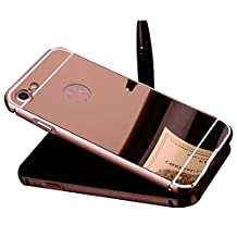 iPhone SE 5S Case,Shinetop Mirror Case -Luxury Metal Aluminum Bumper Frame Detachable Bling Mirror PC Hard Back Case Cover Slim Fit Shock-Absorption Protective Skin Shell for iPhone SE 5S 5-Rose Gold