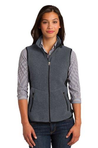 Port Authority Vest Womens (Port Authority Women's Pro Fleece Full Zip Vest, Large, Charcoal/Black)