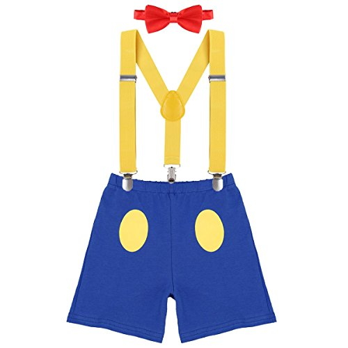 OBEEII Baby Boy Cake Smash Duck Costume Bottoms Suspenders Bow Tie 3PCS Outfits First Birthday Party Photography Prop Boxers & Red Bow Tie 2-3 Years -
