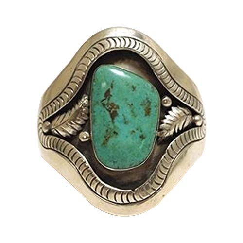 Faux Onyx Ring - CHoppyWAVE Ring Vintage Leaf Faux Turquoise Alloy Carving Unisex Finger Ring Party Jewelry Gift - Silver US 8