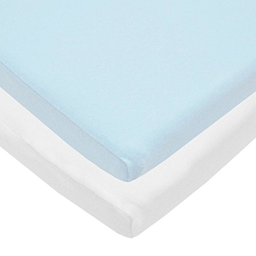 Blue and White Fitted Cradle Sheets - Value Jersey Knit 2 Pack by BSM Baby