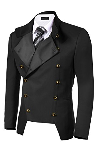 COOFANDY Men's Casual Double-Breasted Jacket Slim Fit Blazer (Large, Black(FBA))
