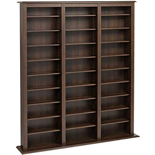 Media Storage Shelving Unit - Espresso Triple Width Barrister Tower