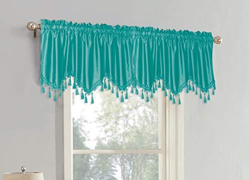 Sally Textiles Raquel Faux Silk Valance, Teal (Curtains Silk Teal)