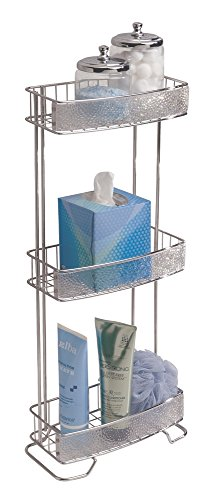 mDesign Free Standing Bathroom Storage Shelves for Towels, Soap, Candles, Tissues, Lotion, Accessories - 3 Tier, Clear/Chrome by mDesign